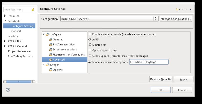 Autotools Plug-in User Guide - Configuration