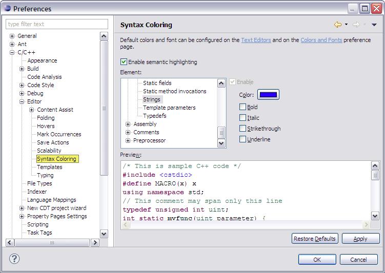 Customizing the C/C++ editor