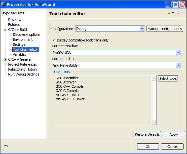 C/C++ Project Properties, Tool Chain edit