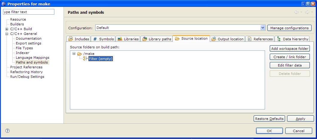Eclipse updating links source folders