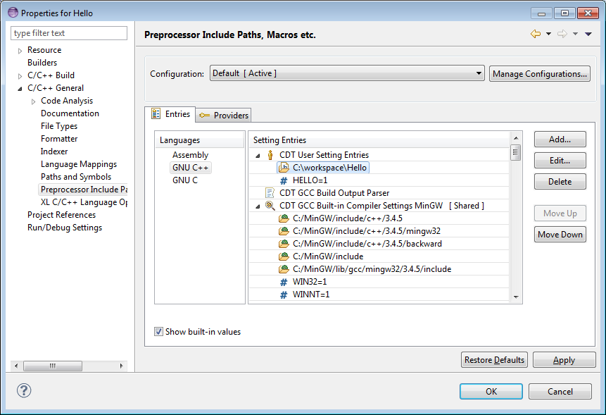 C/C++ Project properties: Preprocessor Include Paths, Macros