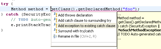 how to use try catch in java