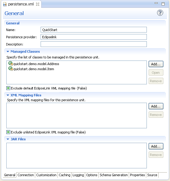 Managing the persistence xml file