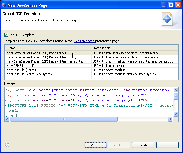 Creating a JSF JSP Page