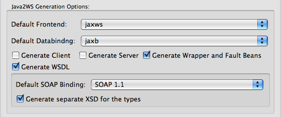 Java2WS Preferences