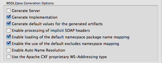 WSDL2Java Preferences