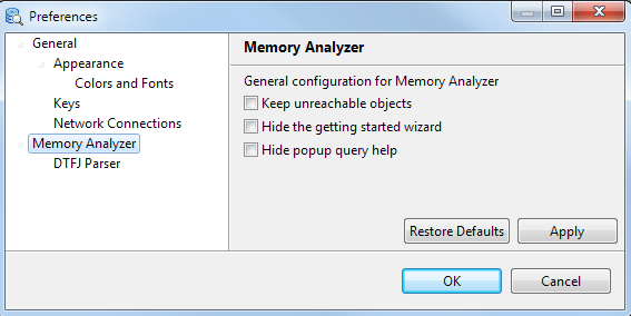 Memory Analyzer Configuration
