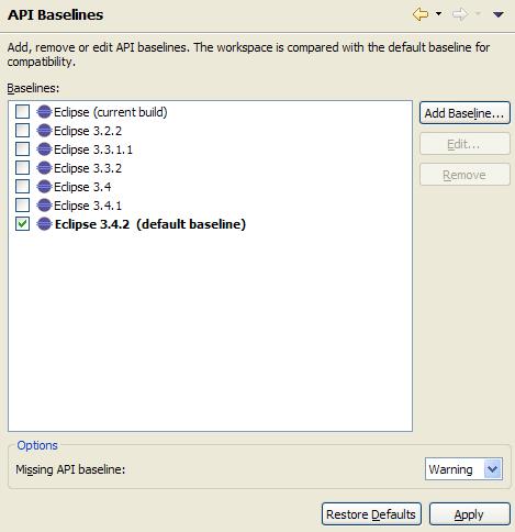 API Baselines Preferences