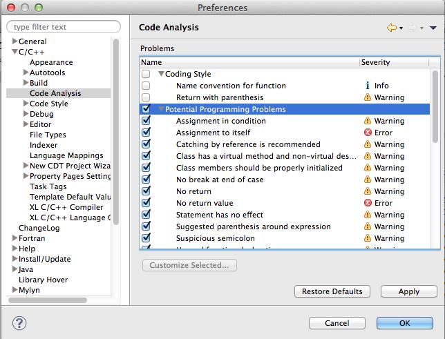 CDT's Code Analysis (Codan)