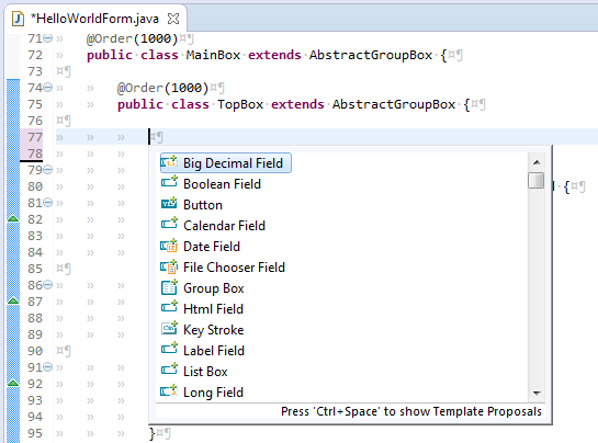 Additions to the Java Editor