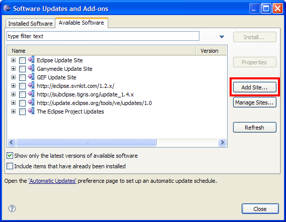 In The Software Updates And Add Ons Dialog Select Available Tab Click Site Button