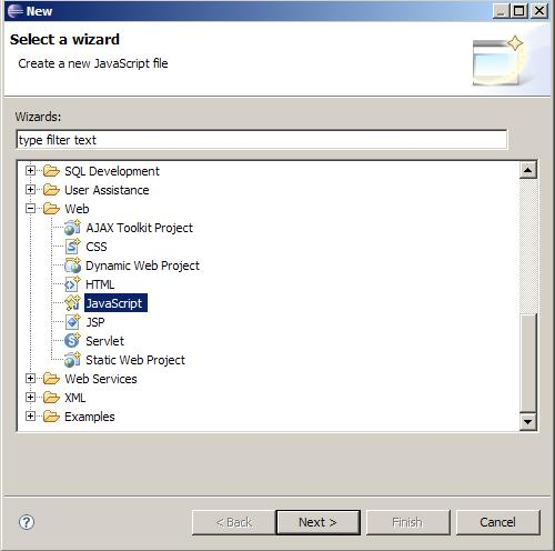 how to import javascript project in eclipse